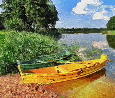 Digital Art - Yellow And Green Boats On The Lake by Yury Malkov