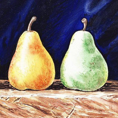 Pear Watercolor Painting - Yellow And Green Pear by Irina Sztukowski