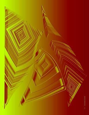 Yellow And Orange Triangles Print by Mario Perez