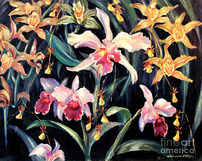 Painting - Yellow And Pink Orchids by Art By Tolpo Collection