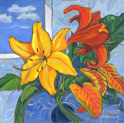 Yellow And Red Lillies Art Print by Paul Brent
