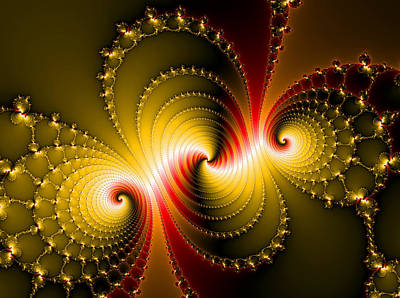 Yellow And Red Metal Fractal Art Print by Matthias Hauser