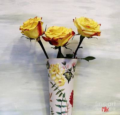 Yellow And Red Tipped Roses Art Print by Marsha Heiken