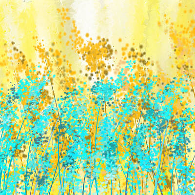 Brilliant Painting - Yellow And Turquoise Garden by Lourry Legarde