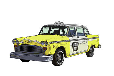 Checker Cab Photograph - Yellow And White Checker Cab by Keith Webber Jr