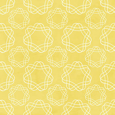 Yellow And White Geometric Floral  Art Print by Linda Woods