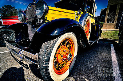 Photograph - Yellow Antique Car Front by Danny Hooks