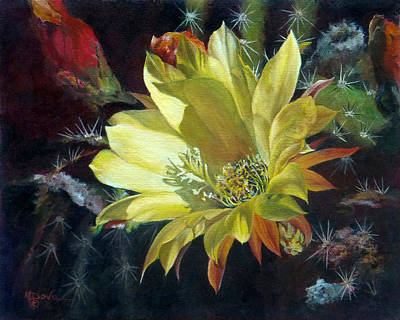 Painting - Yellow Argentine Giant Cactus Flower by Mary Dove