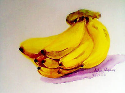 Painting - Yellow Bananas In Watercolor by Asha Sudhaker Shenoy