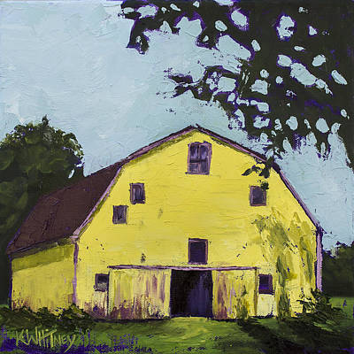 Barn Landscape Painting - Yellow Barn by Kristin Whitney