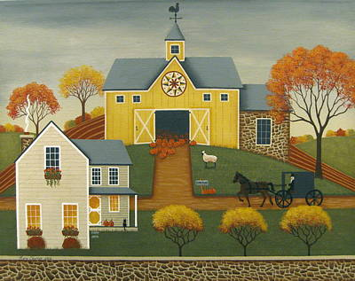 Folk Art Painting - Yellow Barn by Mary Charles