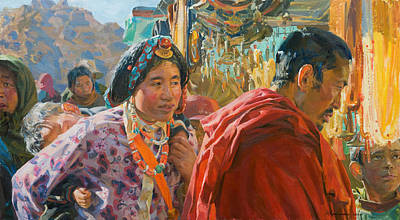 Tibet Painting - Yellow Beads by Victoria Kharchenko