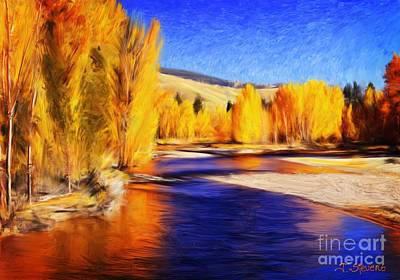 Yellow Bend In The River II Art Print by Joseph J Stevens