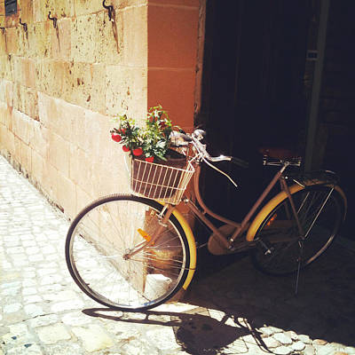 Menorca Photograph - Yellow Bicycle by Cassia Beck
