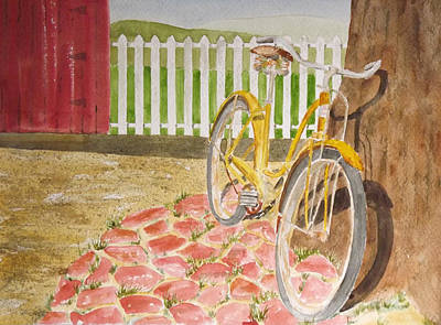 Two Wheeler Painting - Yellow Bike by Gary Thomas