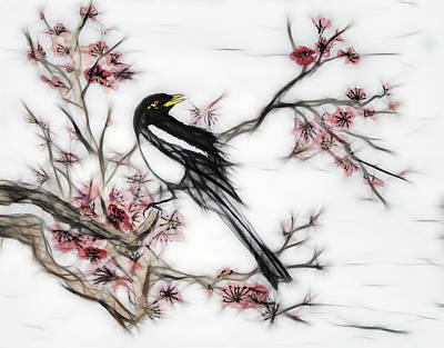 Magpies Digital Art - Yellow-billed Magpie And Plum Blossoms by Daniel Lee Brown
