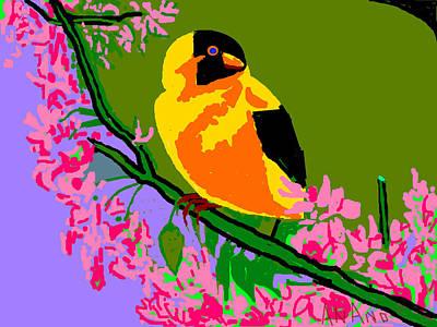 Yellow Bird And Flowerss Art Print by Anand Swaroop Manchiraju