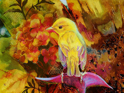 Parakeet Painting - Yellow Bird by Catf
