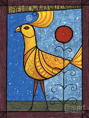 Painting - Yellow Bird Walking No.17 by Terry Durham