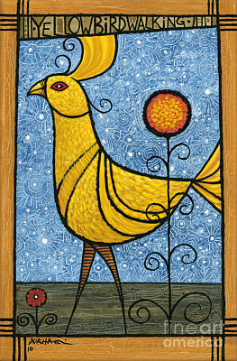 Painting - Yellow Bird Walking by Terry Durham