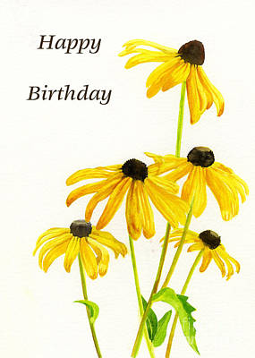 Yellow Black Eyed Susans Birthday Card Art Print by Sharon Freeman