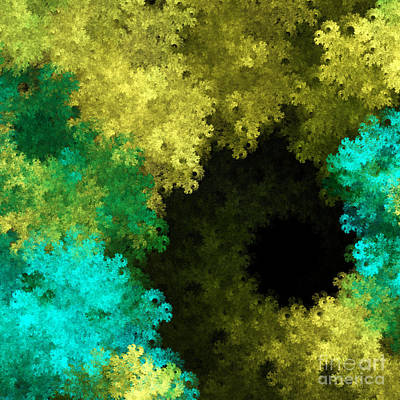 Yellow Blue And Green Explosion - Abstract Series 1 Of 5 - Fractal Art Art Print by Andee Design
