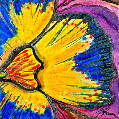 Painting - Yellow Blue Flower by Joan Reese