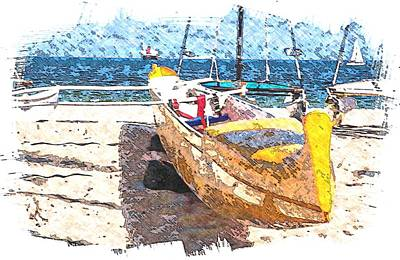Beach Landscape Mixed Media - Yellow Boat by Bob Pardue