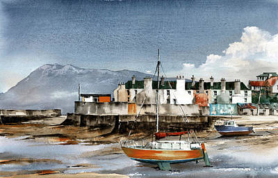 Painting - Yellow Boat In Bray by Val Byrne