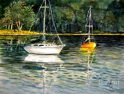 Painting - Yellow Boat Sister Bay by Marilyn Smith
