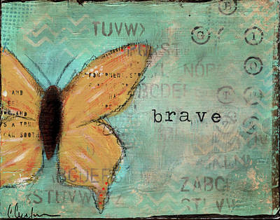 Butterfly Abstract Painting - Yellow Brave Butterfly by Cassandra Cushman
