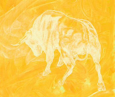 Yellow Bull Negative Art Print
