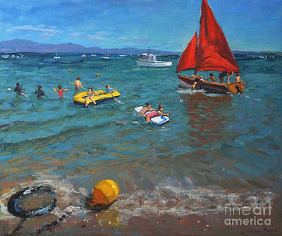 Yellow Buoy And Red Sails Art Print