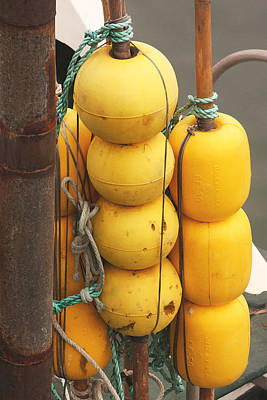 Morro Bay Ca Photograph - Yellow Buoys by Art Block Collections