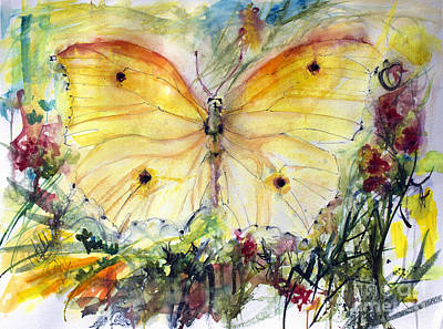 Painting - Yellow Butterfly Watercolor by Ginette Callaway