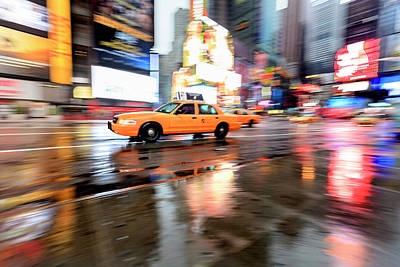 Photograph - Yellow Cab And Reflections, Times by Fred Froese