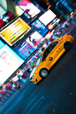 Fast Taxi Photograph - Yellow Cab At Time Square by Andy Fung