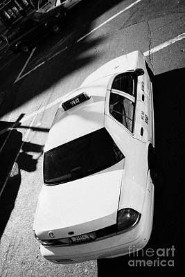 Yellow Cab From Above On Street New York Taxi City Usa Art Print by Joe Fox