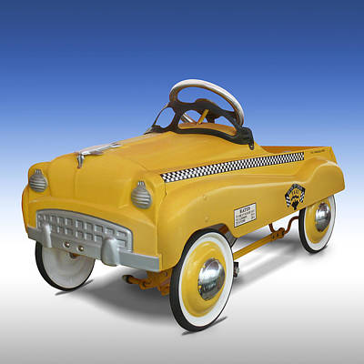 Checker Cab Photograph - Yellow Cab Peddle Car by Mike McGlothlen