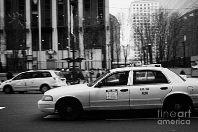 Fast Taxi Photograph - Yellow Cabs Blur Past Madison Square Garden On 7th Avenue New York City Usa by Joe Fox