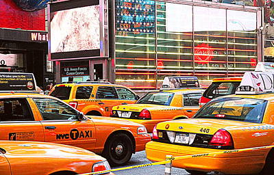 Photograph - Yellow Cabs by Valentino Visentini