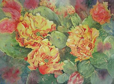 Painting - Yellow Cactus Blooms by Marilyn  Clement