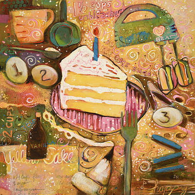 Kitchen Decor Painting - Yellow Cake Recipe by Jen Norton