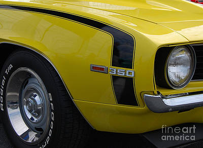 Photograph - yellow Camaro closeup by Mark Spearman