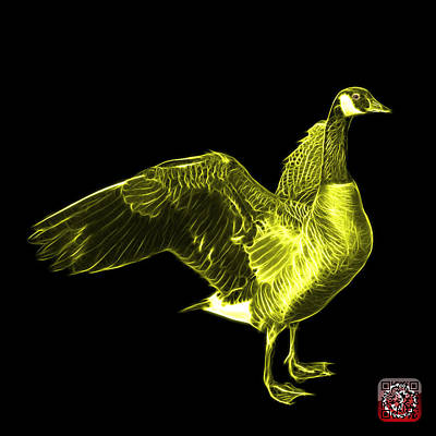 Mixed Media - Yellow Canada Goose Pop Art - 7585 - Bb  by James Ahn