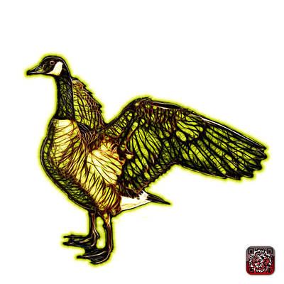 Mixed Media - Yellow Canada Goose Pop Art - 7585 - Wb by James Ahn