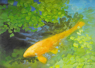 Yellow Carp In Green Art Print by Robert Conway