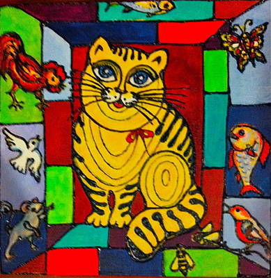 Painting - Yellow Cat Daydreaming by Rae Chichilnitsky