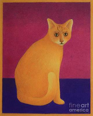 Yellow Cat Art Print by Pamela Clements