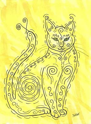 Art Print featuring the painting Yellow Cat Squiggle by Susie Weber